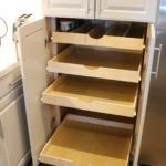 Divider bin and pull outs in lieu of shelves with scoop handle.