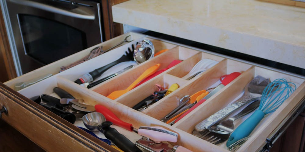 pull out shelf organized kitchen utensils