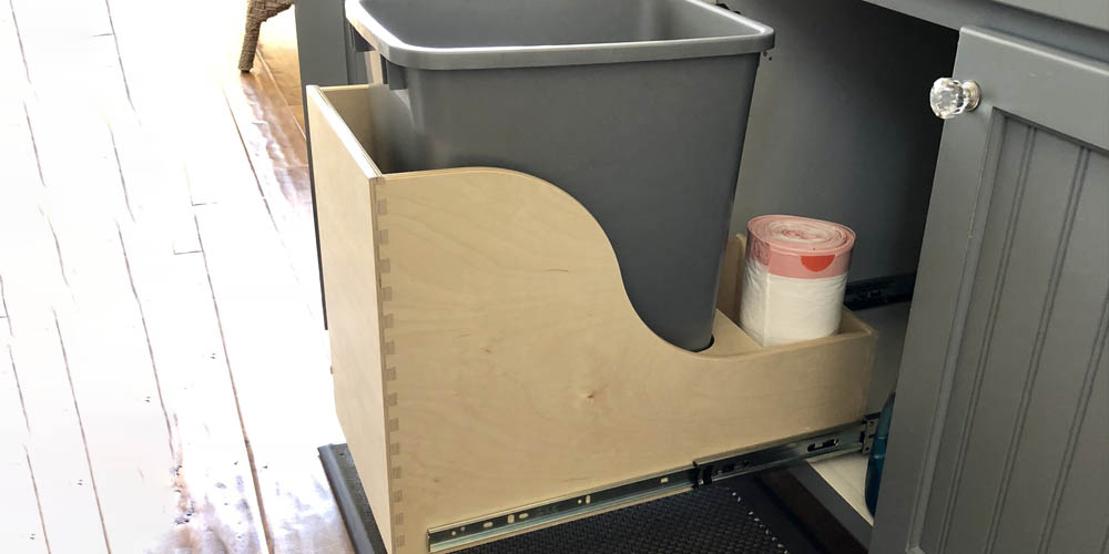 trash bin in pullout shelf custom with holder for trash bags