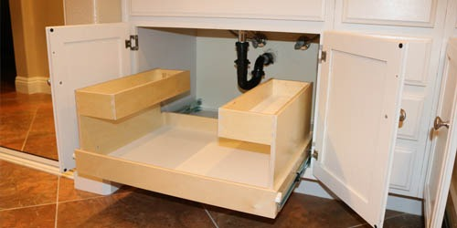 Pull out shelf below sink with two tiers