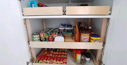pullout shelf with food goods