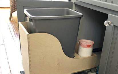 pullout shelving custom organized trash system
