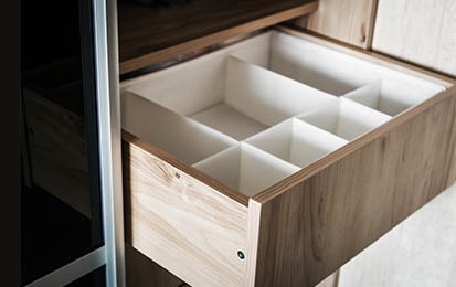 pull out drawer with organization dividers