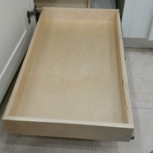 pull out shelf low, in kitchen